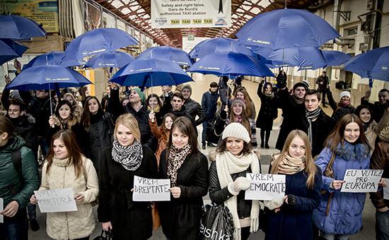Молдавские студенты во время флеш-моба