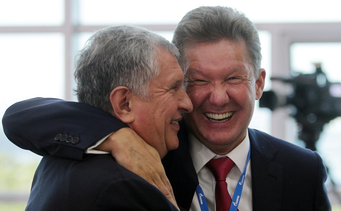 Президент «Роснефти» Игорь Сечин и председатель правления «Газпрома» Алексей Миллер