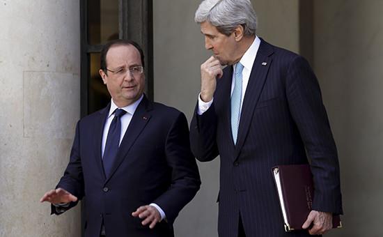 Глава американской дипломатии Джон Керри навстрече спрезидентом Франции Франсуа Олландом. Архивное фото