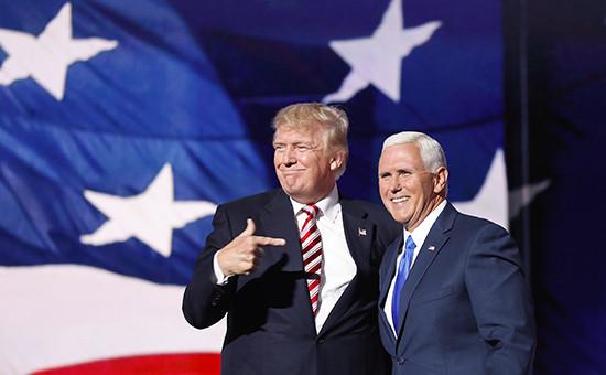 Избранный президент США ДональдТрампи избранный вице-президент США Майк Пенс