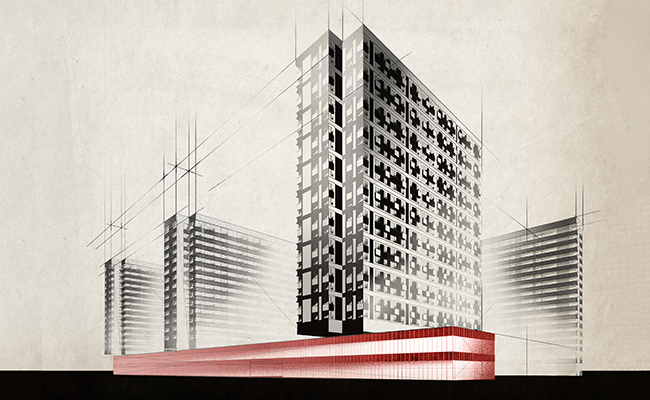Архитектурный рисунок проекта жилого комплекса в Западном Дегунино