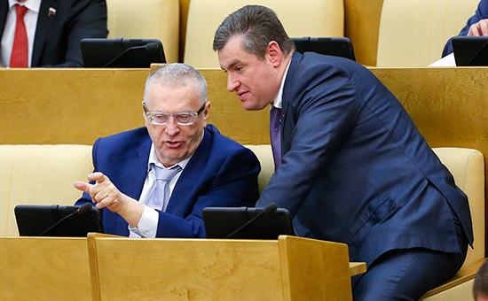 Лидер ЛДПР Владимир Жириновский ичлен фракции ЛДПР Леонид Слуцкий