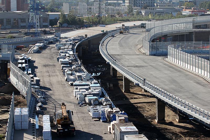 Санкт-Петербург. Строительство автомобильной развязки.