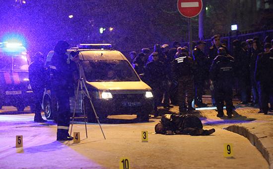 Место убийства на улице Солянка в Москве