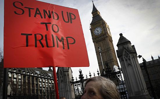 Выступление в Лондоне у здания британского парламента. 20 февраля 2017 года