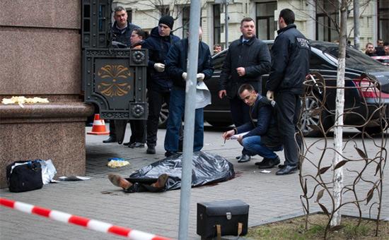 Тело Дениса Вороненкова наместе убийства