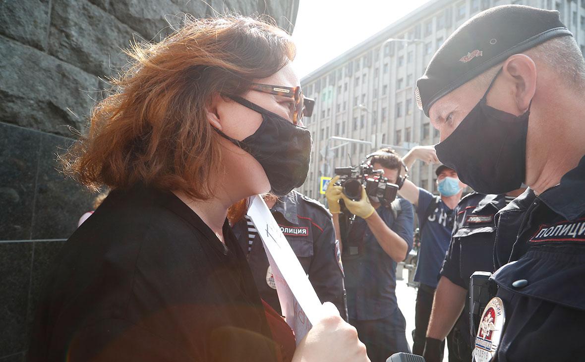 Марианна Беленькая во время задержания