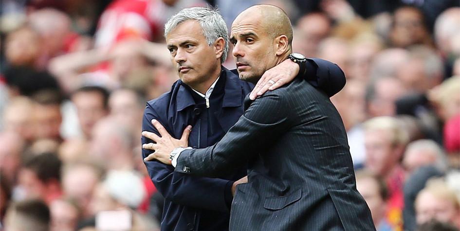 Тренеры «Манчестер Юнайтед» и «Манчестер Сити» — соответственно Жозе Моуринью и Хосеп Гвардиола (слева направо)