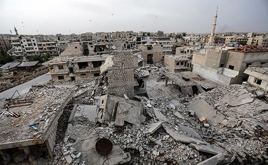 Вид на город Идлиб в Сирии,15 мая 2016 года