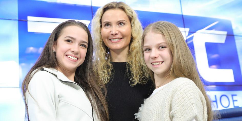 Фото: Алина Загитова, Этери Тутберидзе и Александра Трусова (Фото: ТАСС)