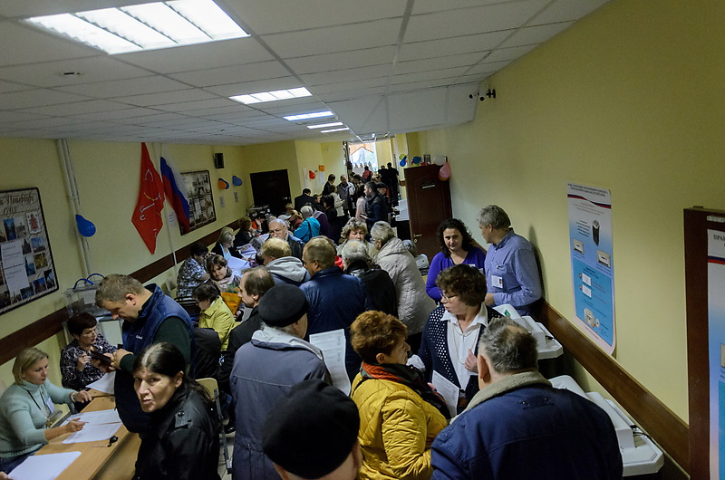 Один из избирательных участков Санкт-Петербурга