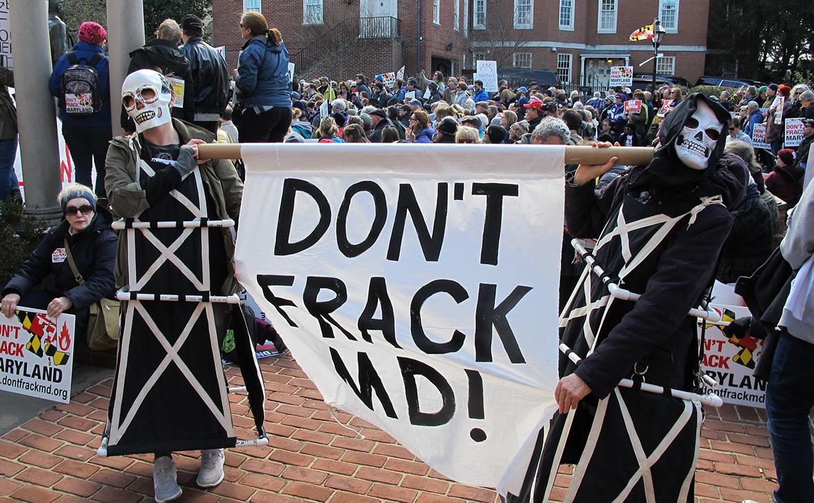 Противники добычи газа и нефти из подземного сланца. Штат Мэриленд. Март 2017 года