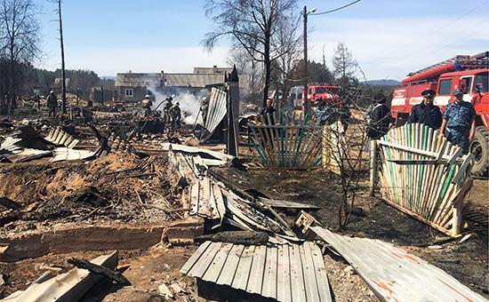 Последствия пожара в поселке Черемушки, Бурятия