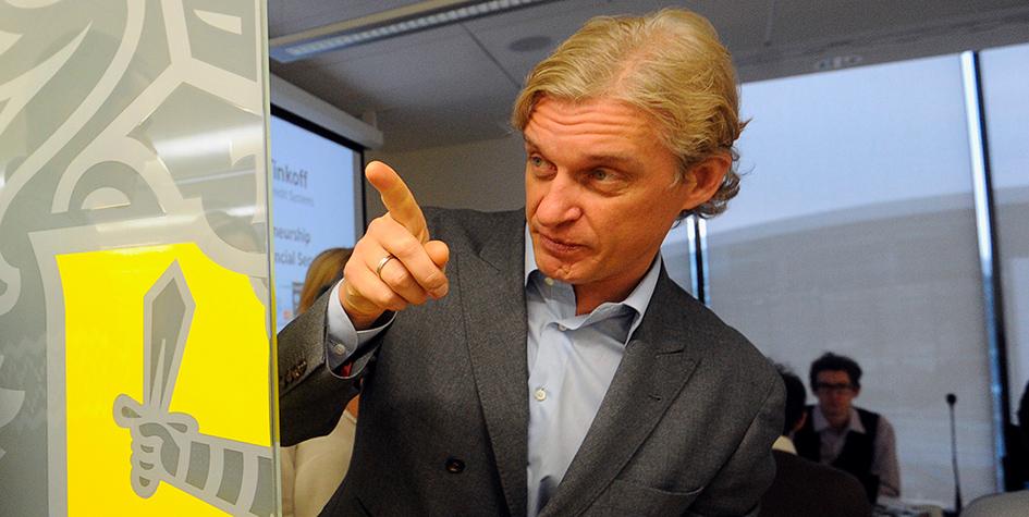 Глава группы компаний «Тинькофф» Олег Тиньков в новом офисе банка