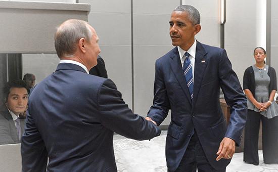 Президент РФ Владимир Путин (слева) ипрезидент США Барак Обама вовремя встречи в Ханчжоу, 5 сентября 2016 года