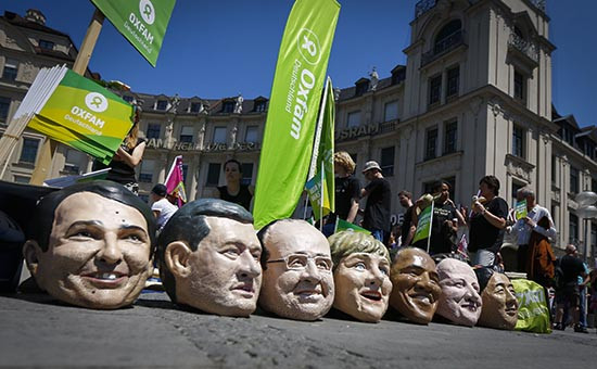 Акция протеста в Мюнхене против предстоящего саммитаG-7