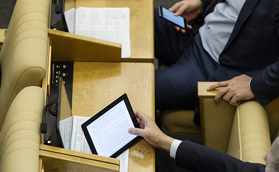 Депутаты вовремя заседания Государственной думы России
