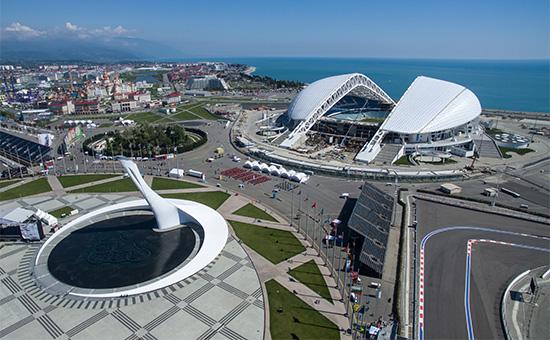 Вид на Олимпийский парк в Сочи