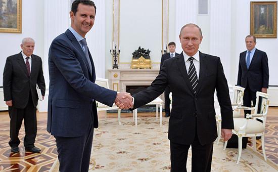 Президент Сирии Башар Асад ипрезидент России Владимир Путин вовремя встречи вКремле