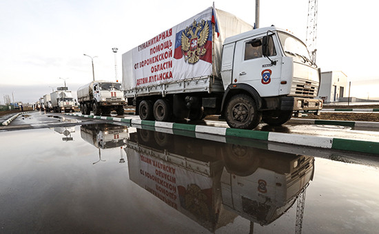 Грузовики из автоколонны с гуманитарной помощью для жителей юго-востока Украины. Архивное фото