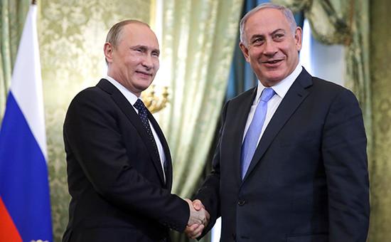 Президент России Владимир Путин и премьер-министр Израиля Биньямин Нетаньяху (слева направо) во время встречи в Кремле