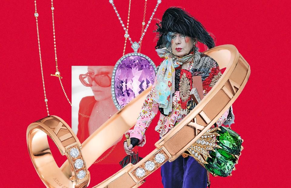 Эльза Перетти и сотуар по ее дизайну Анна Пьяджи, журналист моды, редактор и стилист
