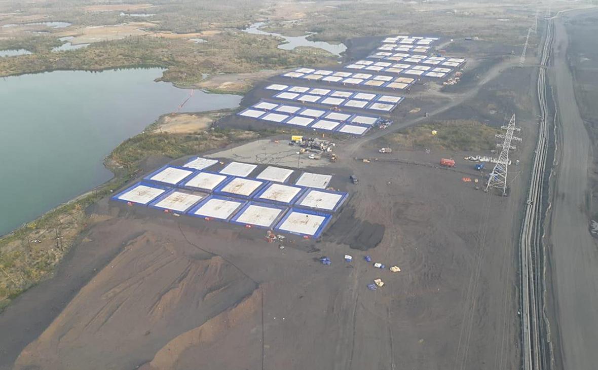 Ликвидация последствий аварии, топливно-водной смеси на хвостохранилище Лебяжье
