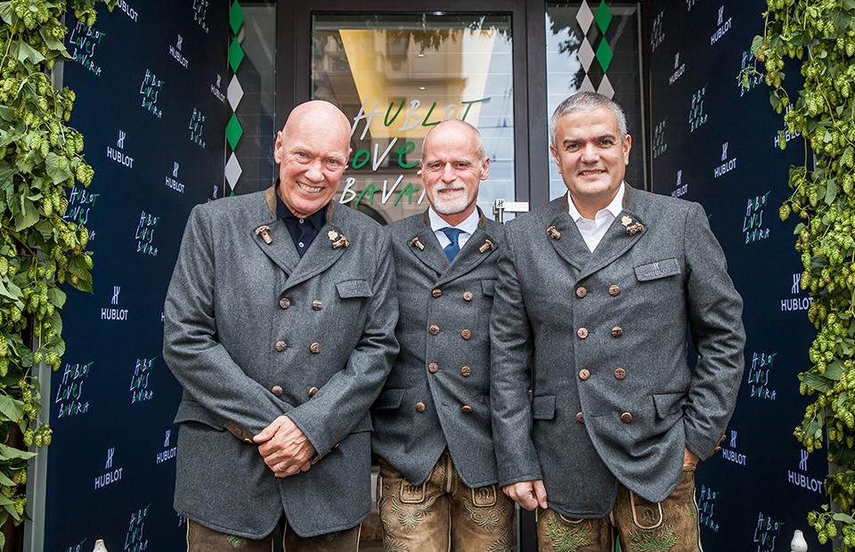 Глава часового направления LVMH Жан-Клод Бивер, глава Meindl Маркус Майндль и генеральный директор Hublot Рикардо Гвадалупе