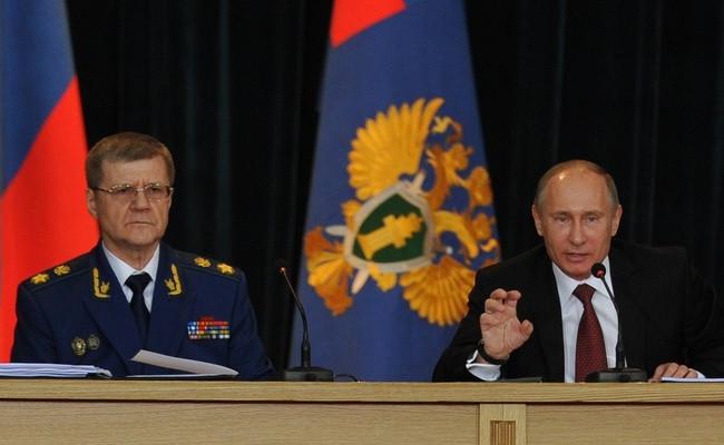 Генеральный прокурор России Юрий Чайка ипрезидент России Владимир Путин
