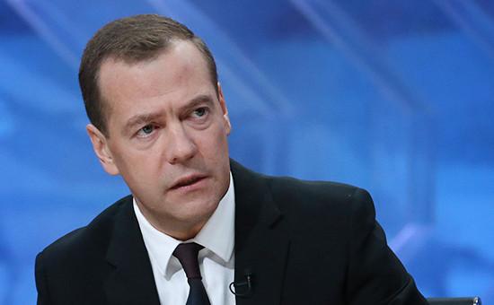 Глава российского правительства Дмитрий Медведев дает интервью впрограмме «Разговор сДмитрием Медведевым»