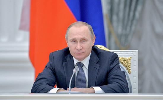 Президент России Владимир Путинна встрече в Кремле с представителями деловых кругов страны