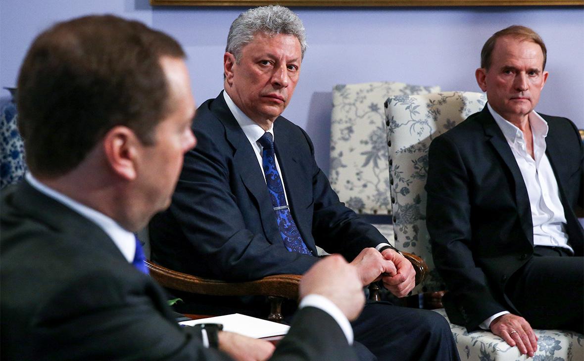 Дмитрий Медведев, Юрий Бойко и Виктор Медведчук (слева направо)