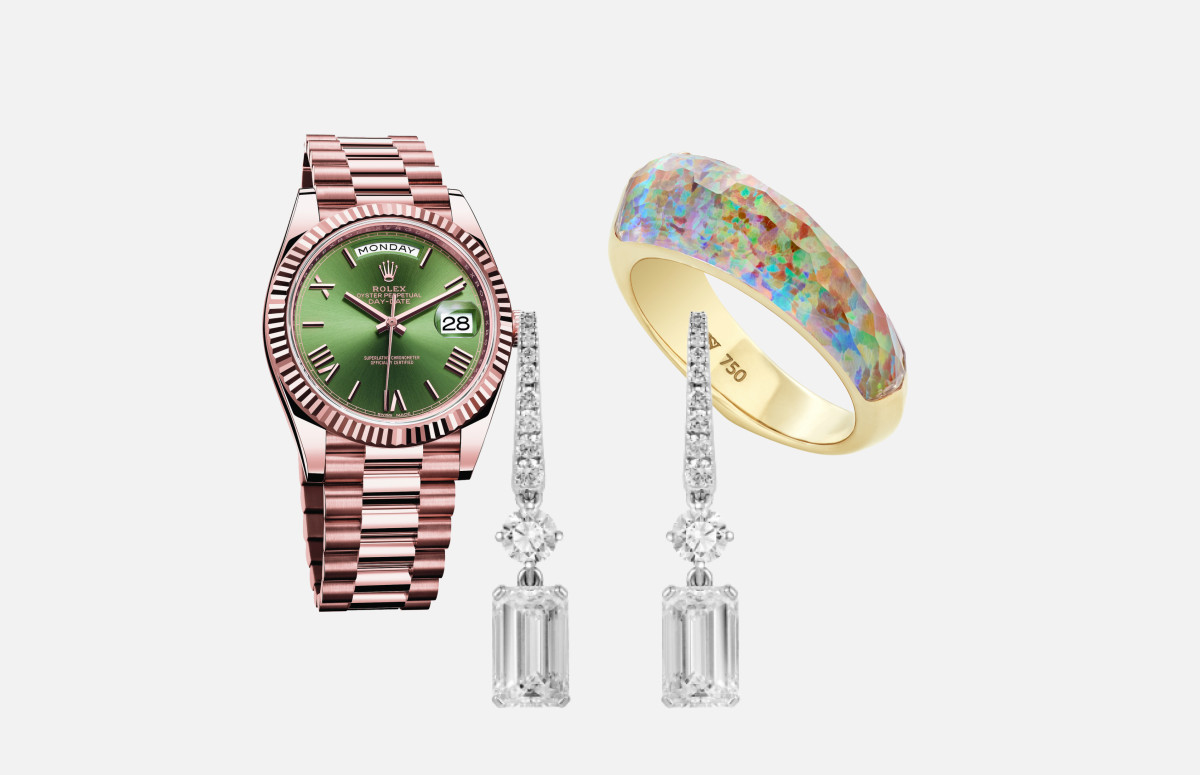 Часы Oyster Perpetual Day-Date 40, Rolex, серьги Classic, Mercury, кольцо CH2, Stephen Webster