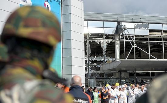 Вид нааэропорт Брюсселя, гдепроизошел взрыв 22 марта 2016 года