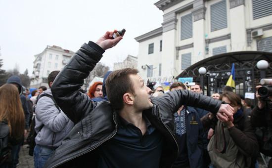 Митинг возле здания российского посольства в Киеве, 9 марта 2016 год