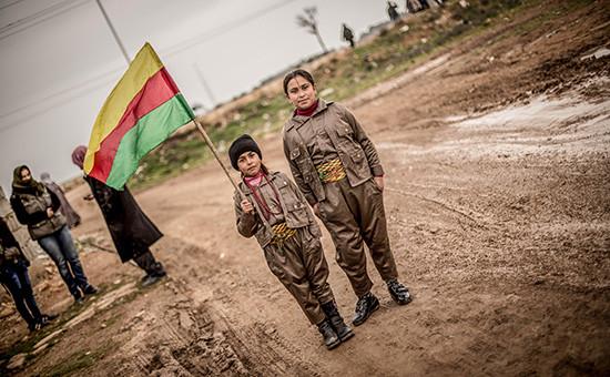 Сирийскаяакция курдов в поддержку бывшего лидера Курдской рабочей партии Абдуллы Оджалана