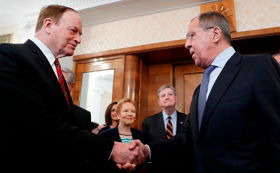 Сергей Лавров (справа)на встрече с делегацией конгресса США
