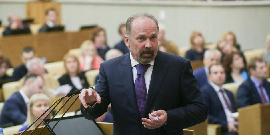 Глава Минстроя Михаил Мень на парламентских слушаниях в Госдуме по защите прав дольщиков