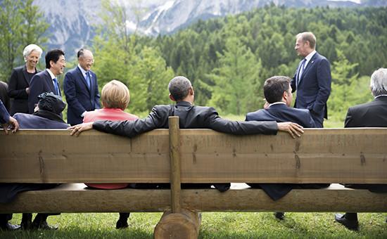 Лидеры саммитастран«Большой семерки» (G7),который проходит в Баварских Альпах