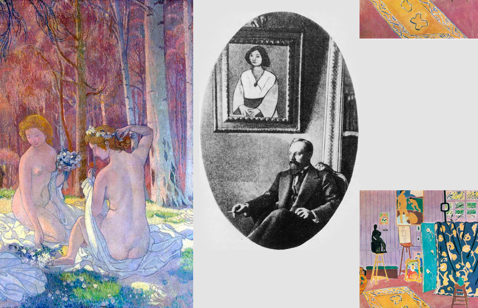Сергей Щукин на фоне картины Анри Матисса «Женщина в зеленом»