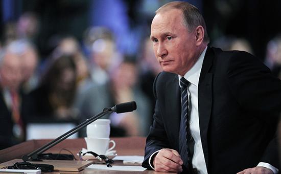 Президент России Владимир Путин на большой ежегодной пресс-конференции