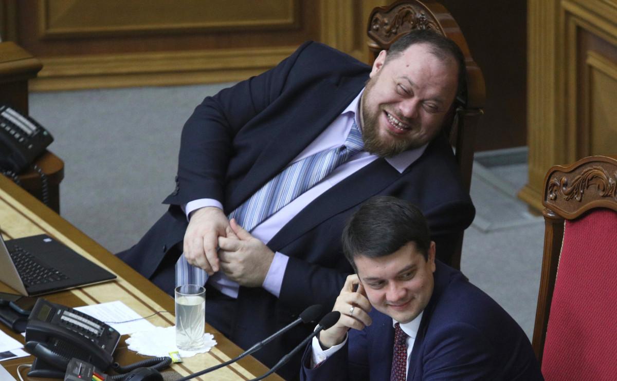 Первый вице-спикер Верховной Рады Руслан Стефанчук и спикер парламента Дмитрий Разумков(слева направо)