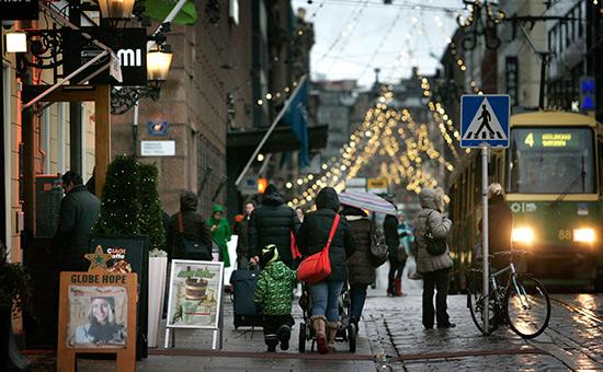 Вид на одну из улиц вХельсинки, Финляндия