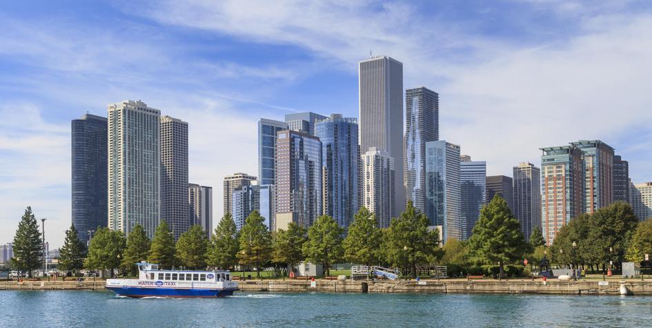 Чикаго, вид на город со стороны озера Мичиган