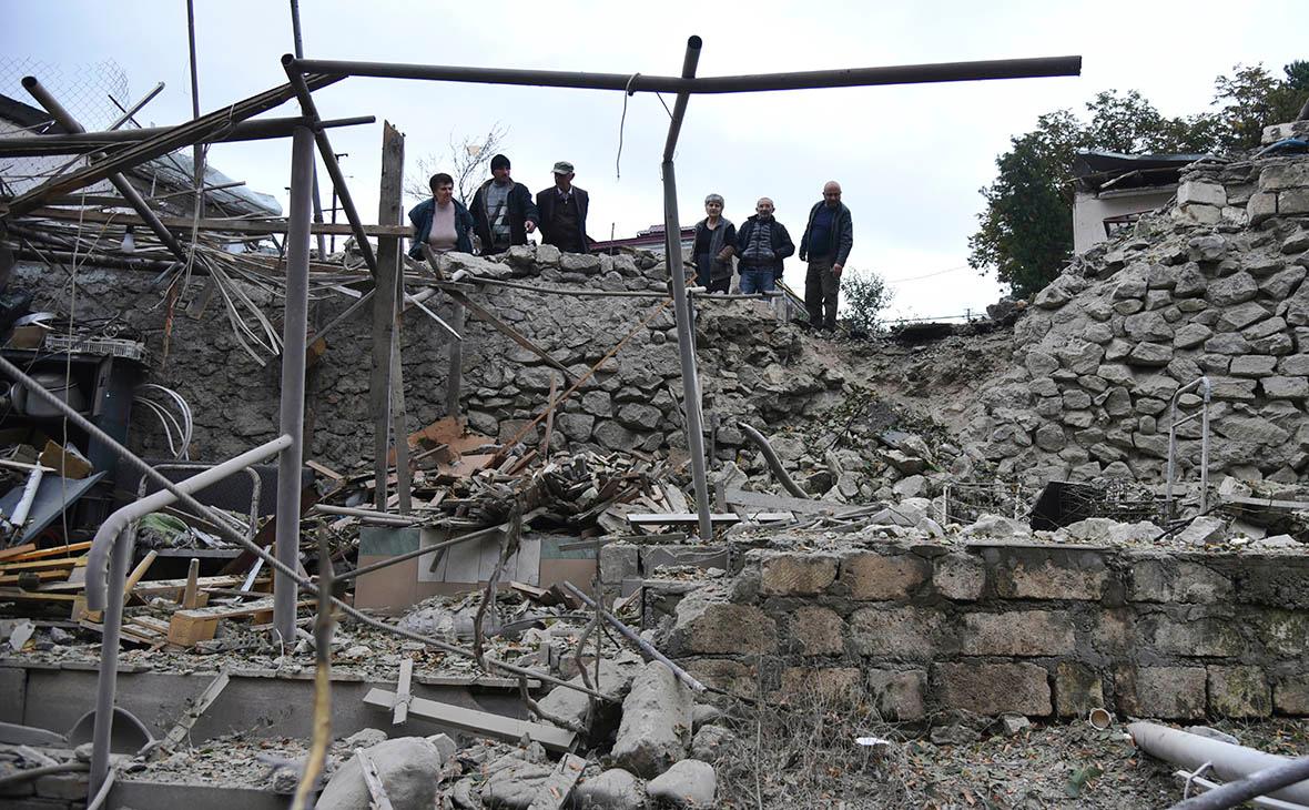 Разрушенияпосле обстрела вНагорном Карабахе