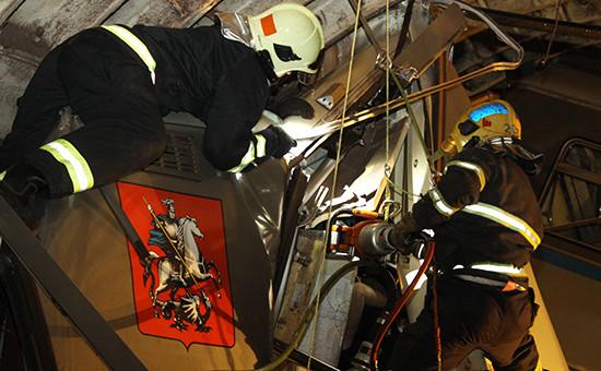 Место аварии в тоннеле на Арбатско-Покровской линии, 15 июля 2014 года