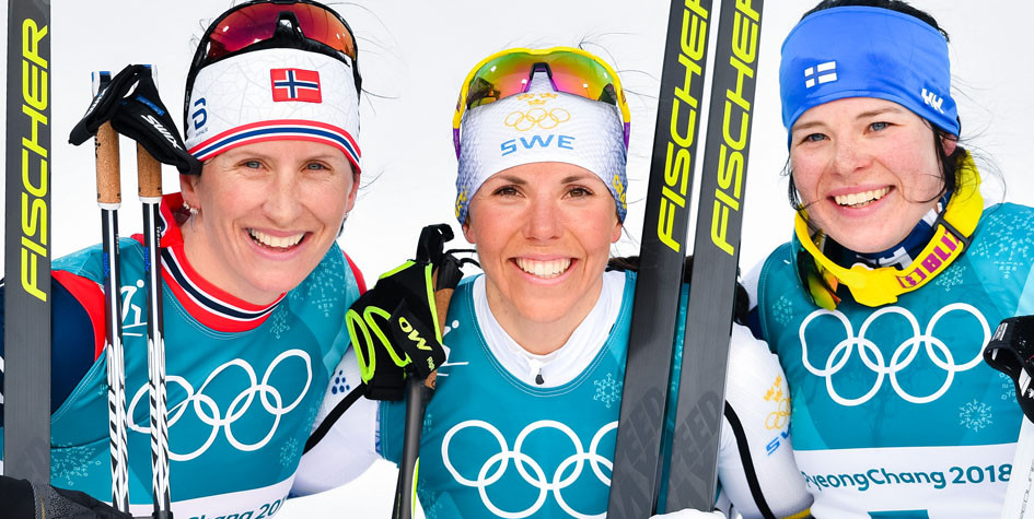Призеры женского скиатлона на Олимпиаде в Пхёнчхане Марит Бьорген, Шарлотта Калла и Криста Пармакоски (слева направо)