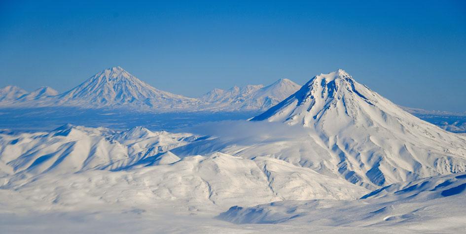 Вид с вертолета на Вилючинский вулкан