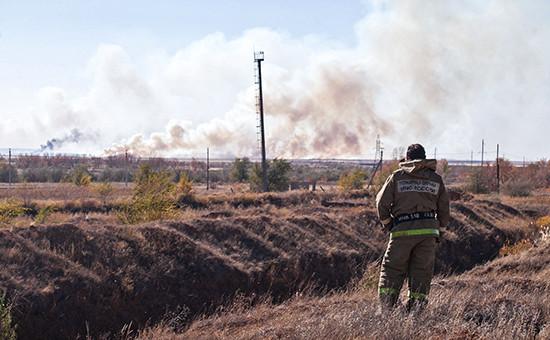 Пожар на складе боеприпасов. Архивное фото