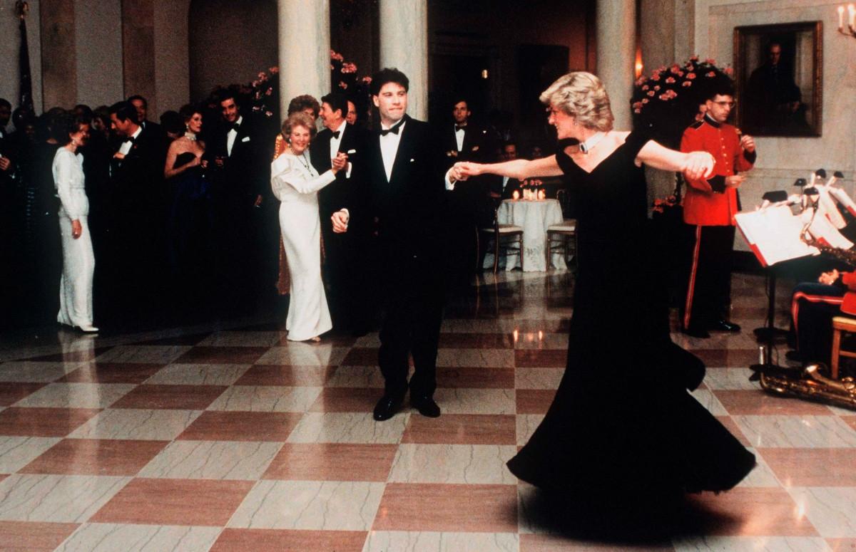 Принцесса Диана и Джон Траволта на приеме в Белом доме, 1985